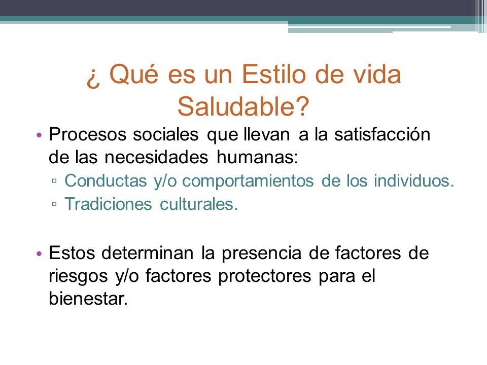 ¿ Qué es un Estilo de vida Saludable? Procesos sociales que llevan a la satisfacción de las necesidades humanas: Conductas y/o comportamientos de los