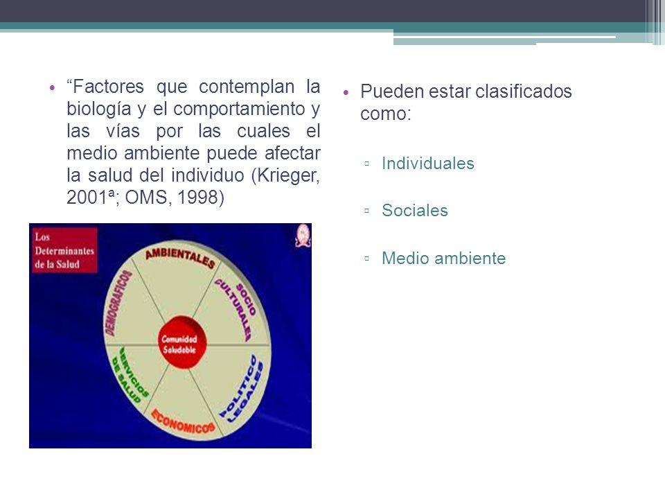 Factores que contemplan la biología y el comportamiento y las vías por las cuales el medio ambiente puede afectar la salud del individuo (Krieger, 200