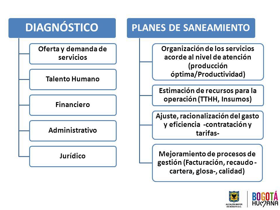 DIAGNÓSTICO Oferta y demanda de servicios Talento HumanoFinancieroAdministrativoJurídico PLANES DE SANEAMIENTO Organización de los servicios acorde al