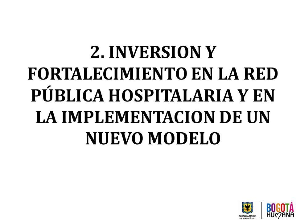2. INVERSION Y FORTALECIMIENTO EN LA RED PÚBLICA HOSPITALARIA Y EN LA IMPLEMENTACION DE UN NUEVO MODELO