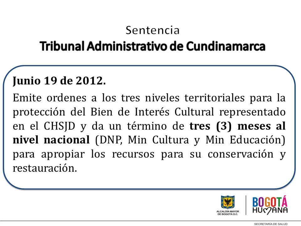 Junio 19 de 2012. Emite ordenes a los tres niveles territoriales para la protección del Bien de Interés Cultural representado en el CHSJD y da un térm