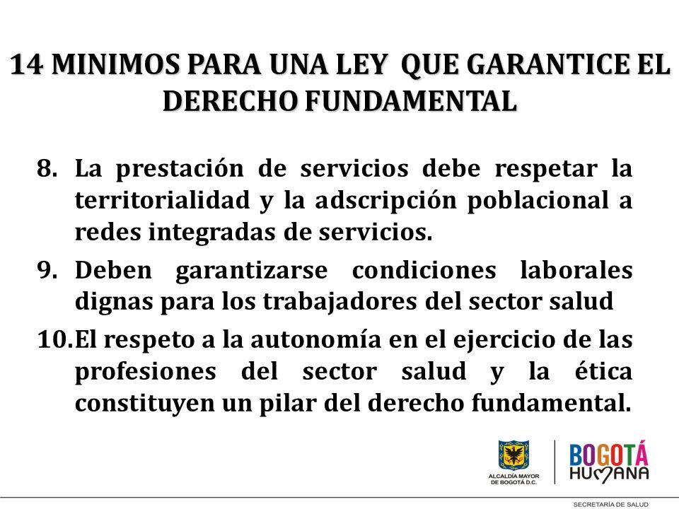 8.La prestación de servicios debe respetar la territorialidad y la adscripción poblacional a redes integradas de servicios. 9.Deben garantizarse condi