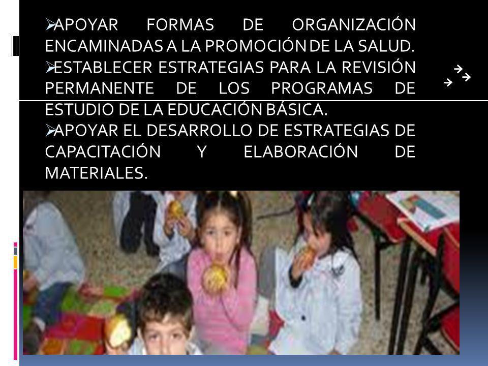 APOYAR FORMAS DE ORGANIZACIÓN ENCAMINADAS A LA PROMOCIÓN DE LA SALUD.