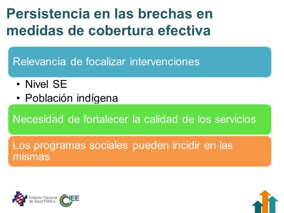 Persistencia en las brechas en medidas de cobertura efectiva Relevancia de focalizar intervenciones Nivel SE Población indígena Necesidad de fortalece