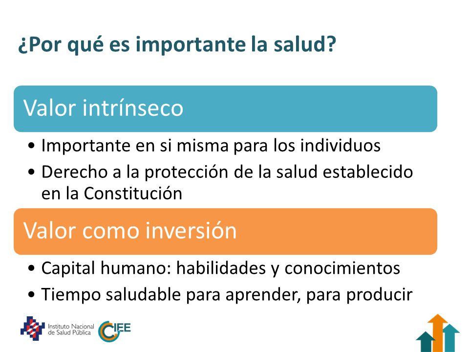 ¿Por qué es importante la salud? Valor intrínseco Importante en si misma para los individuos Derecho a la protección de la salud establecido en la Con