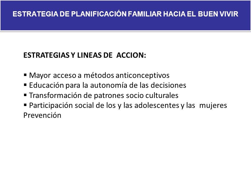 ESTRATEGIA DE PLANIFICACIÓN FAMILIAR HACIA EL BUEN VIVIR ESTRATEGIAS Y LINEAS DE ACCION: Mayor acceso a métodos anticonceptivos Educación para la auto