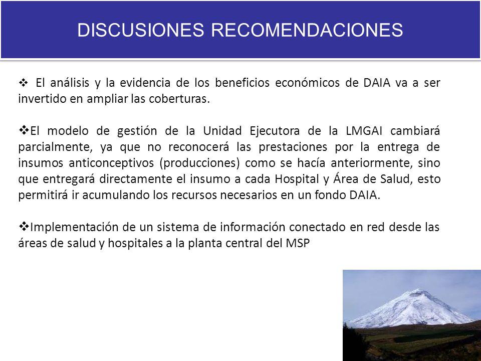 DISCUSIONES RECOMENDACIONES El análisis y la evidencia de los beneficios económicos de DAIA va a ser invertido en ampliar las coberturas. El modelo de
