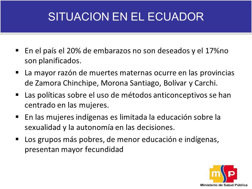 En el país el 20% de embarazos no son deseados y el 17%no son planificados. La mayor razón de muertes maternas ocurre en las provincias de Zamora Chin