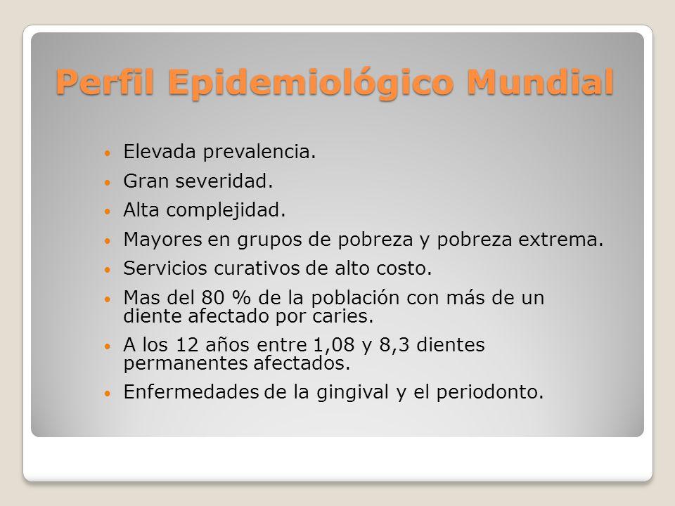 Perfil Epidemiológico Mundial Elevada prevalencia. Gran severidad. Alta complejidad. Mayores en grupos de pobreza y pobreza extrema. Servicios curativ