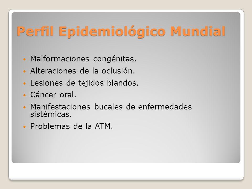 Perfil Epidemiológico Mundial Malformaciones congénitas. Alteraciones de la oclusión. Lesiones de tejidos blandos. Cáncer oral. Manifestaciones bucale
