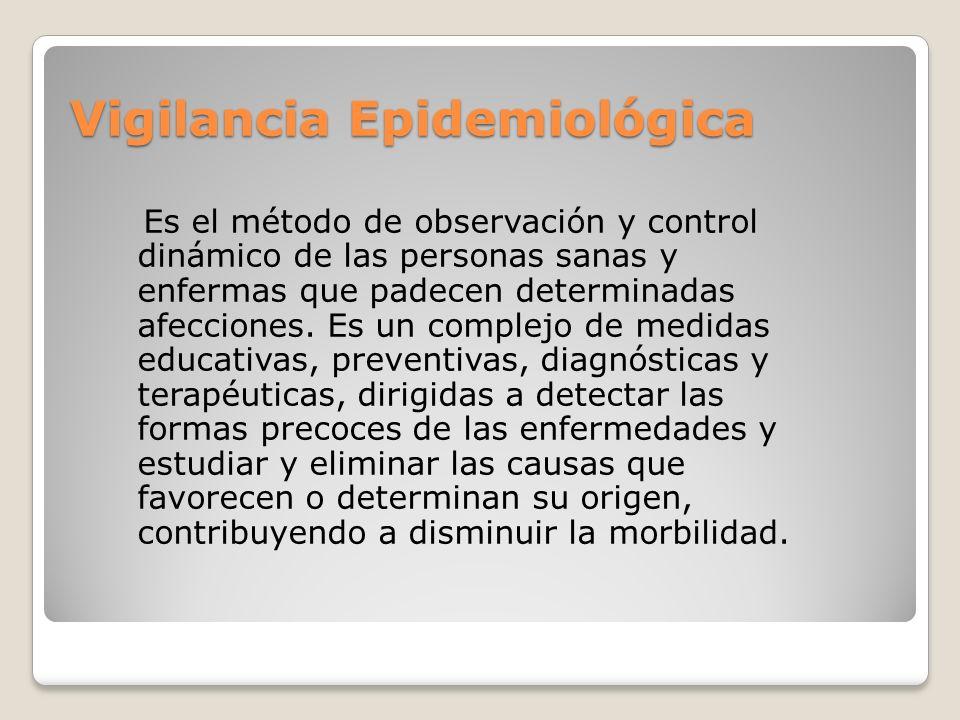 Vigilancia Epidemiológica Es el método de observación y control dinámico de las personas sanas y enfermas que padecen determinadas afecciones. Es un c
