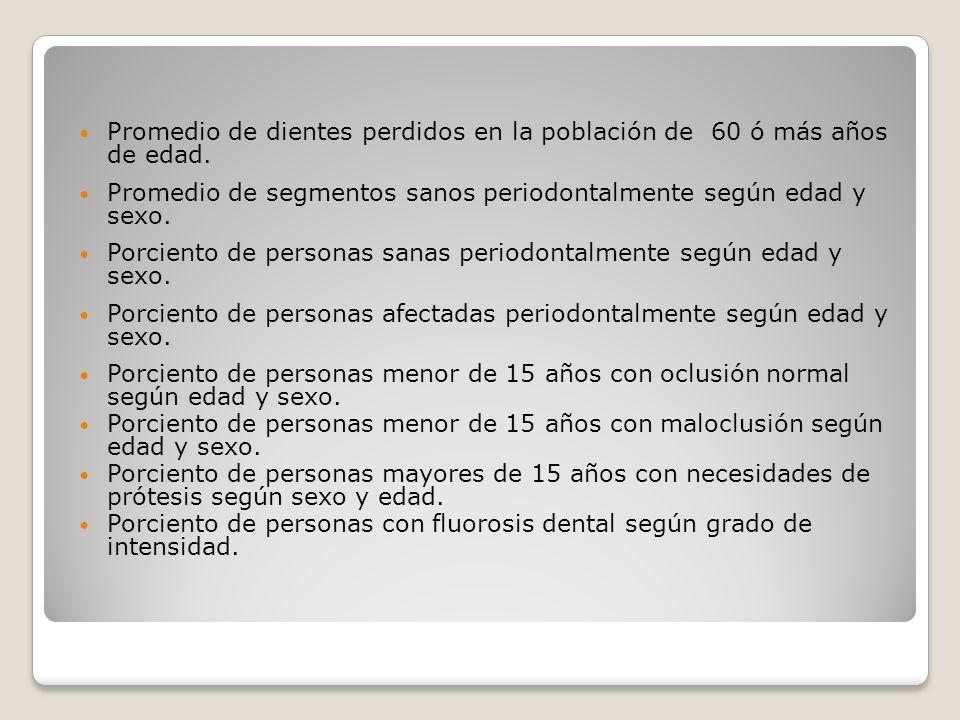 Promedio de dientes perdidos en la población de 60 ó más años de edad. Promedio de segmentos sanos periodontalmente según edad y sexo. Porciento de pe