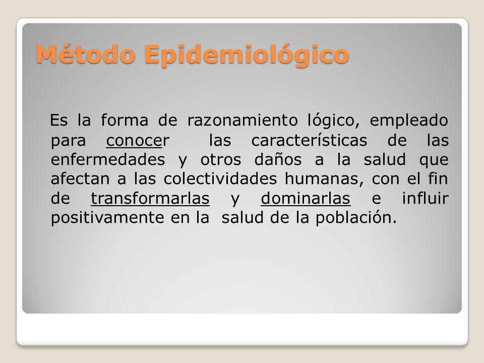 Método Epidemiológico Es la forma de razonamiento lógico, empleado para conocer las características de las enfermedades y otros daños a la salud que afectan a las colectividades humanas, con el fin de transformarlas y dominarlas e influir positivamente en la salud de la población.