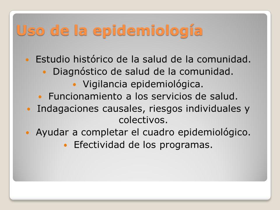 Uso de la epidemiología Estudio histórico de la salud de la comunidad. Diagnóstico de salud de la comunidad. Vigilancia epidemiológica. Funcionamiento