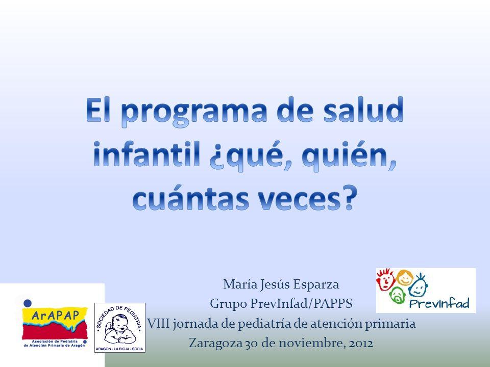 María Jesús Esparza Grupo PrevInfad/PAPPS VIII jornada de pediatría de atención primaria Zaragoza 30 de noviembre, 2012