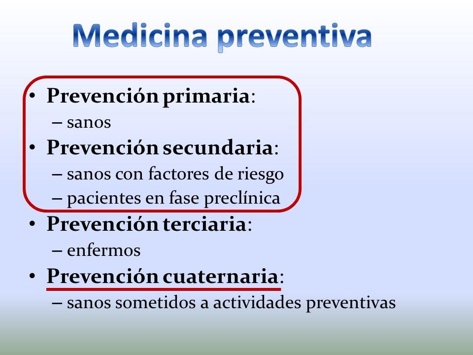 Prevención primaria: – sanos Prevención secundaria: – sanos con factores de riesgo – pacientes en fase preclínica Prevención terciaria: – enfermos Pre