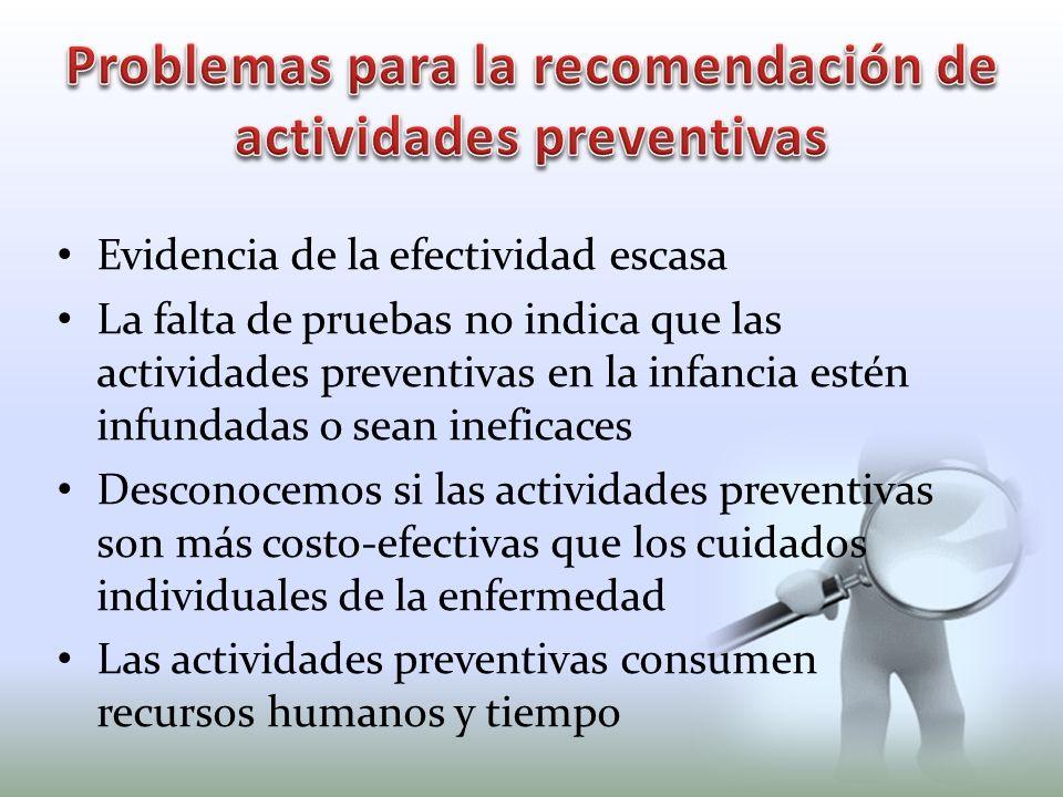 Evidencia de la efectividad escasa La falta de pruebas no indica que las actividades preventivas en la infancia estén infundadas o sean ineficaces Des
