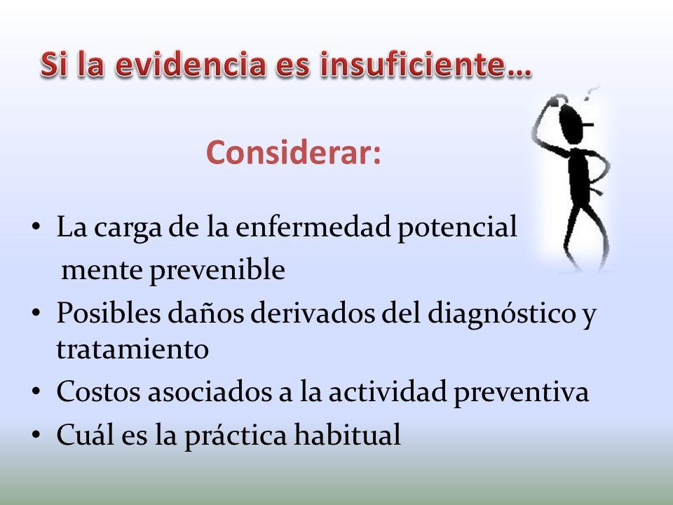 La carga de la enfermedad potencial mente prevenible Posibles daños derivados del diagnóstico y tratamiento Costos asociados a la actividad preventiva