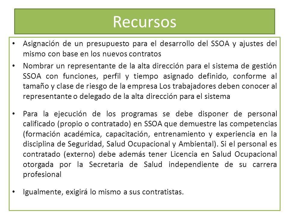 Recursos Asignación de un presupuesto para el desarrollo del SSOA y ajustes del mismo con base en los nuevos contratos Nombrar un representante de la