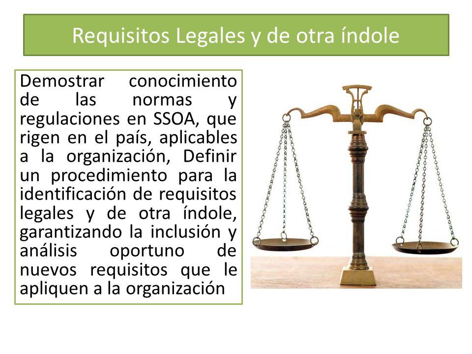 Requisitos Legales y de otra índole Demostrar conocimiento de las normas y regulaciones en SSOA, que rigen en el país, aplicables a la organización, D