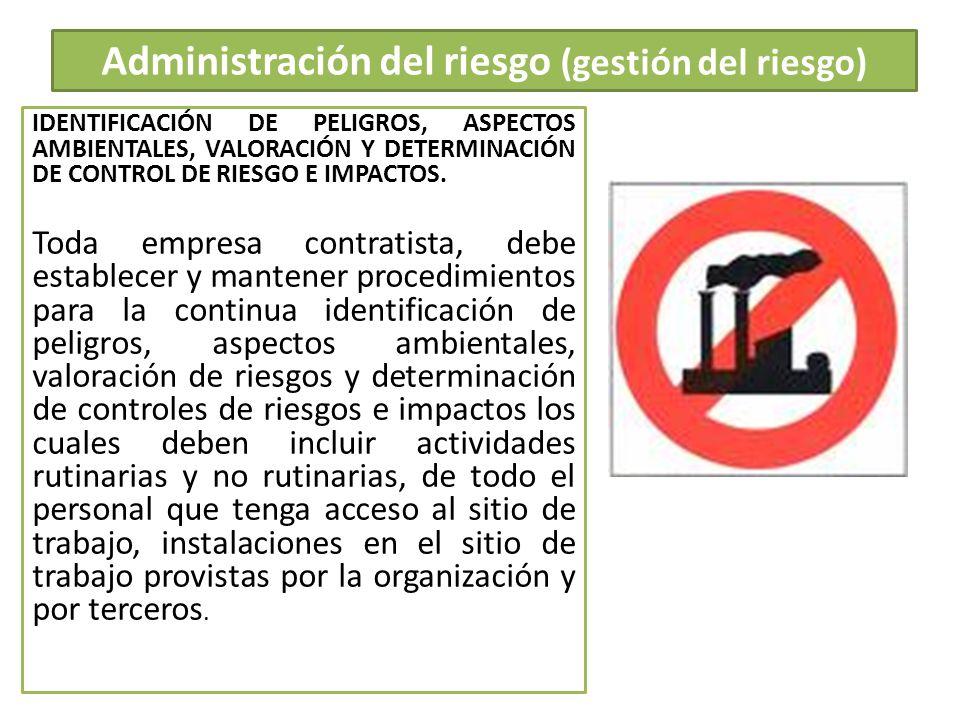Administración del riesgo (gestión del riesgo) IDENTIFICACIÓN DE PELIGROS, ASPECTOS AMBIENTALES, VALORACIÓN Y DETERMINACIÓN DE CONTROL DE RIESGO E IMP