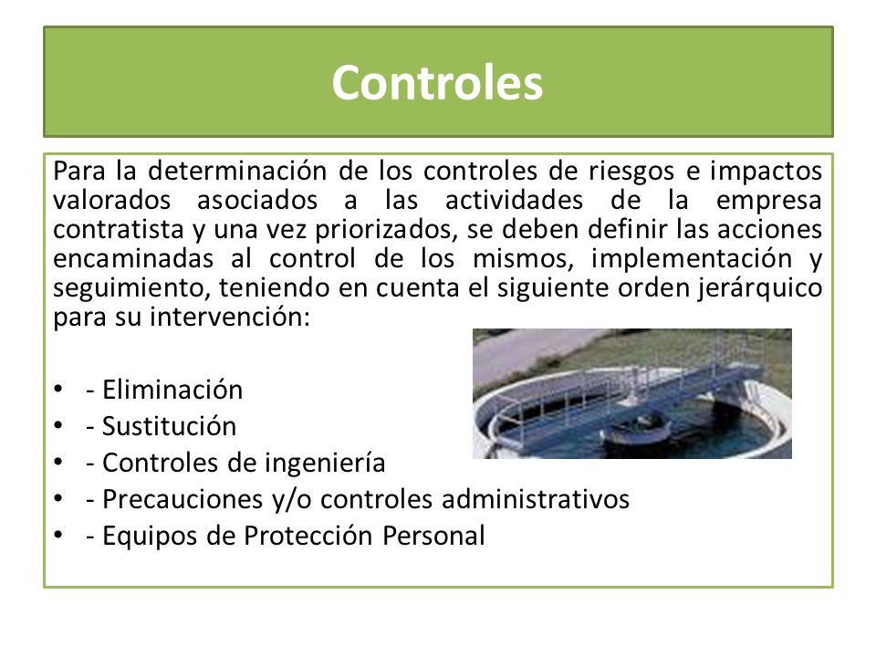 Controles Para la determinación de los controles de riesgos e impactos valorados asociados a las actividades de la empresa contratista y una vez prior