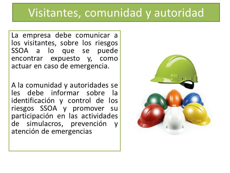 Visitantes, comunidad y autoridad La empresa debe comunicar a los visitantes, sobre los riesgos SSOA a lo que se puede encontrar expuesto y, como actu