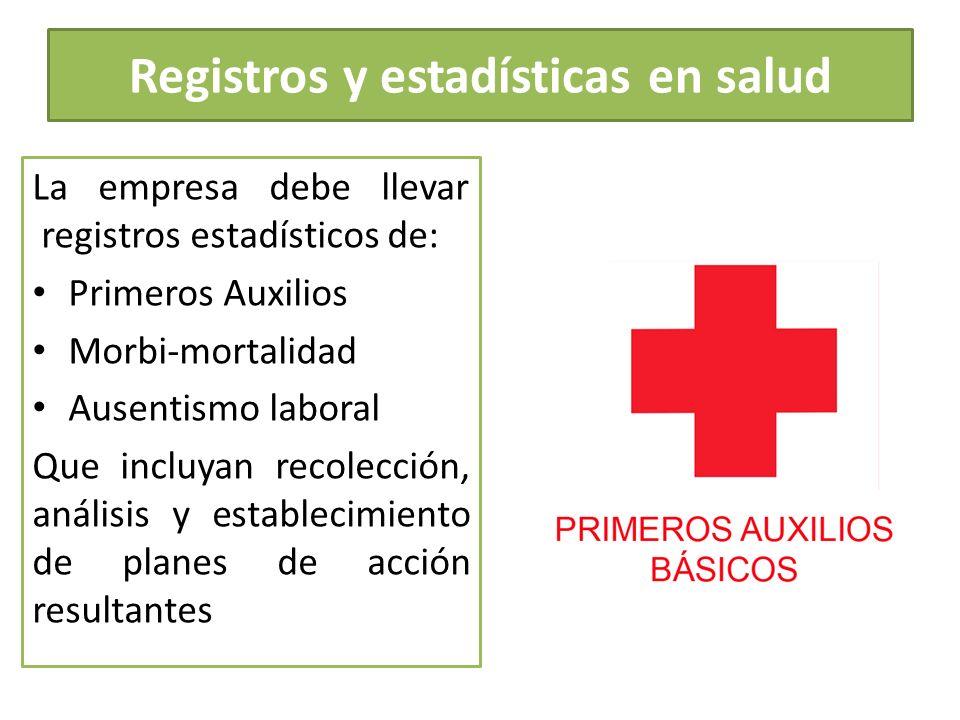 Registros y estadísticas en salud La empresa debe llevar registros estadísticos de: Primeros Auxilios Morbi-mortalidad Ausentismo laboral Que incluyan