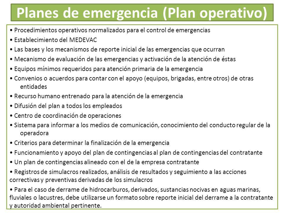 Planes de emergencia (Plan operativo) Procedimientos operativos normalizados para el control de emergencias Establecimiento del MEDEVAC Las bases y lo