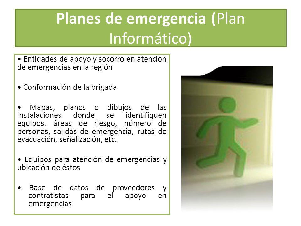 Planes de emergencia (Plan Informático) Entidades de apoyo y socorro en atención de emergencias en la región Conformación de la brigada Mapas, planos