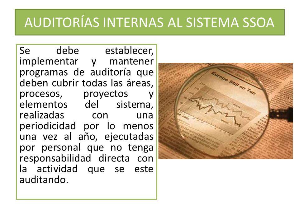 AUDITORÍAS INTERNAS AL SISTEMA SSOA Se debe establecer, implementar y mantener programas de auditoría que deben cubrir todas las áreas, procesos, proy