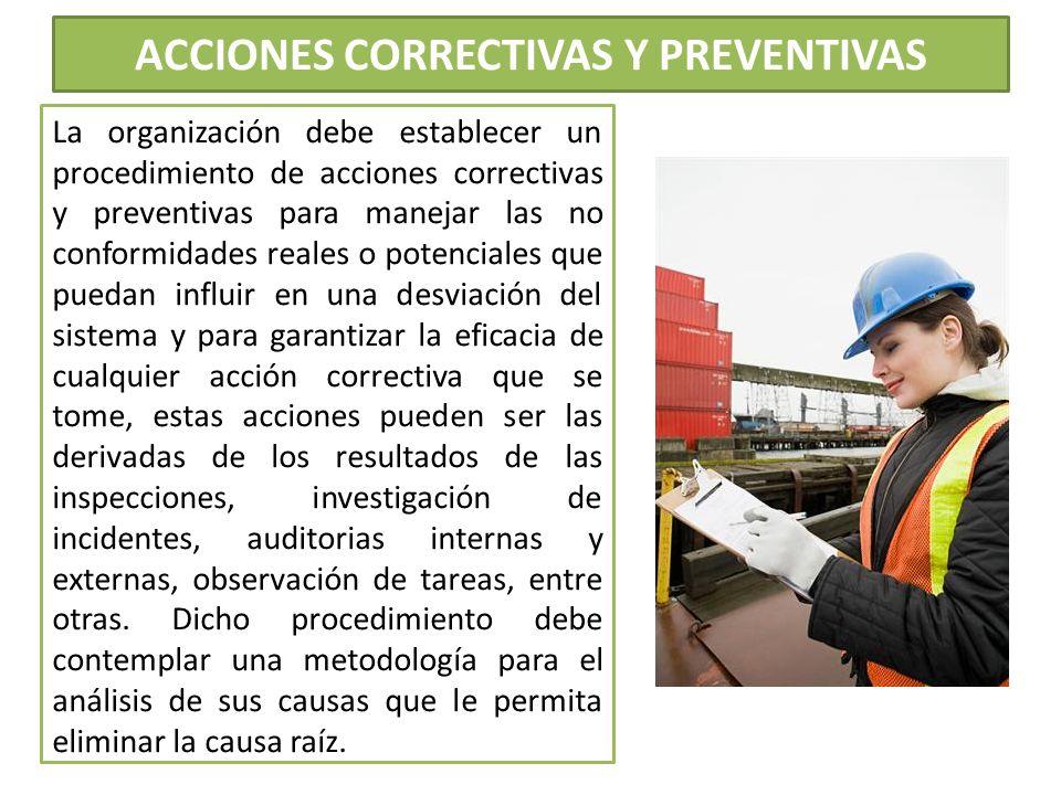 ACCIONES CORRECTIVAS Y PREVENTIVAS La organización debe establecer un procedimiento de acciones correctivas y preventivas para manejar las no conformi
