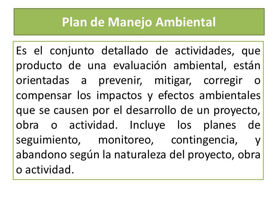 Plan de Manejo Ambiental Es el conjunto detallado de actividades, que producto de una evaluación ambiental, están orientadas a prevenir, mitigar, corr