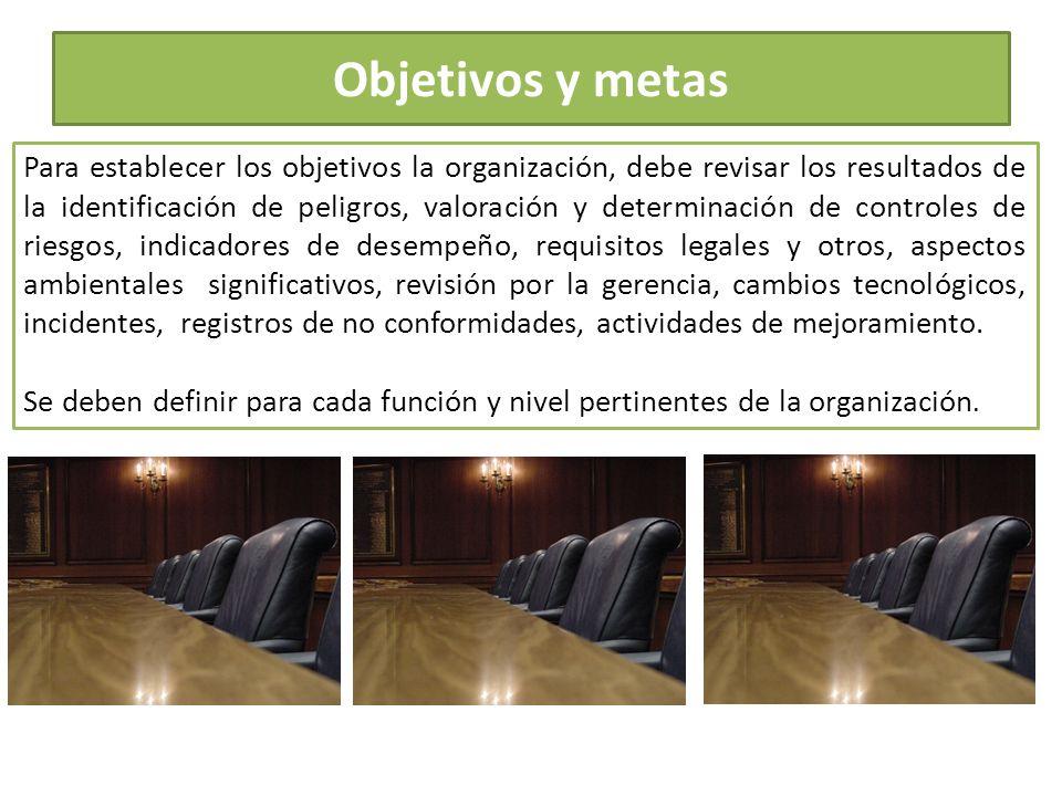 Objetivos y metas Para establecer los objetivos la organización, debe revisar los resultados de la identificación de peligros, valoración y determinac