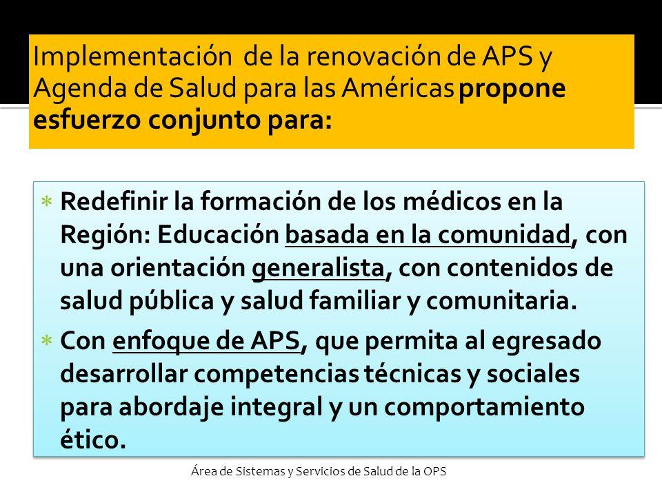 Implementación de la renovación de APS y Agenda de Salud para las Américas propone esfuerzo conjunto para: Redefinir la formación de los médicos en la