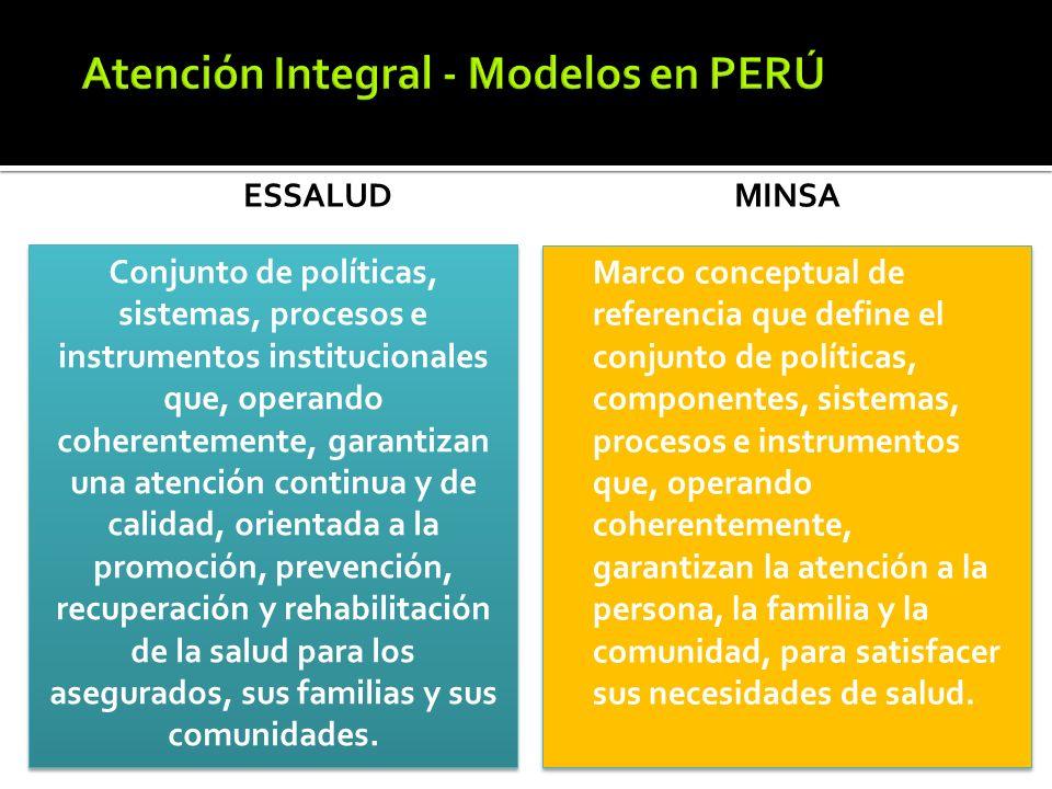 ESSALUD MINSA Marco conceptual de referencia que define el conjunto de políticas, componentes, sistemas, procesos e instrumentos que, operando coheren
