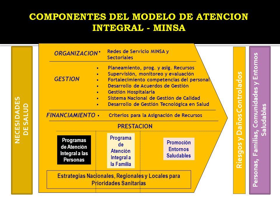NECESI DADES DE SALUD PRESTACION Programas de Atención Integral a las Personas Programa de Atención Integral a la Familia Promoción Entornos Saludable