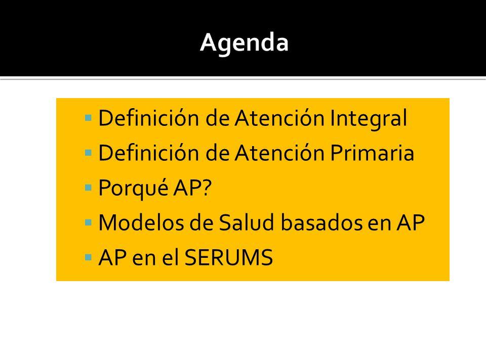 Definición de Atención Integral Definición de Atención Primaria Porqué AP? Modelos de Salud basados en AP AP en el SERUMS