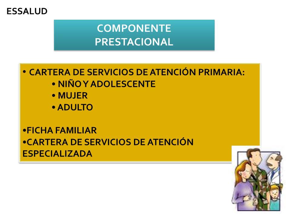 COMPONENTE PRESTACIONAL CARTERA DE SERVICIOS DE ATENCIÓN PRIMARIA: NIÑO Y ADOLESCENTE MUJER ADULTO FICHA FAMILIAR CARTERA DE SERVICIOS DE ATENCIÓN ESP