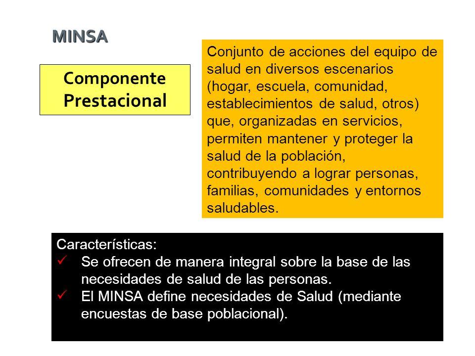 Componente Prestacional Conjunto de acciones del equipo de salud en diversos escenarios (hogar, escuela, comunidad, establecimientos de salud, otros)