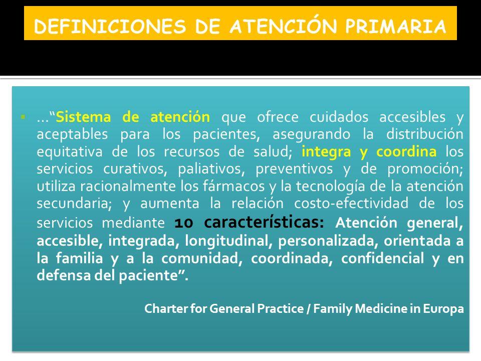 …Sistema de atención que ofrece cuidados accesibles y aceptables para los pacientes, asegurando la distribución equitativa de los recursos de salud; i