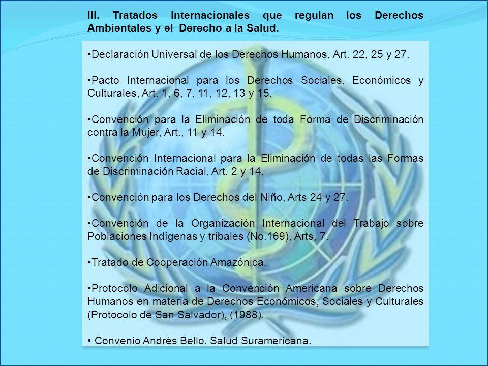 III. Tratados Internacionales que regulan los Derechos Ambientales y el Derecho a la Salud. Declaración Universal de los Derechos Humanos, Art. 22, 25