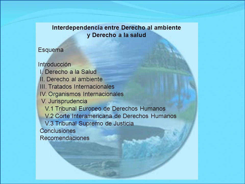 Interdependencia entre Derecho al ambiente y Derecho a la salud Esquema Introducción I. Derecho a la Salud II. Derecho al ambiente III. Tratados Inter