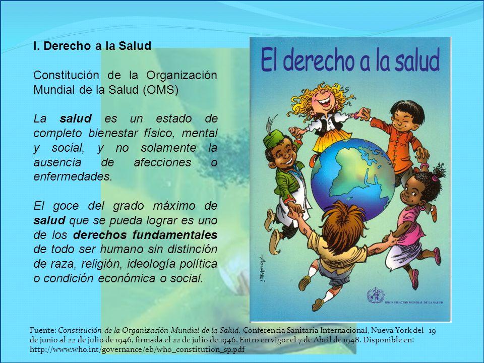I. Derecho a la Salud Constitución de la Organización Mundial de la Salud (OMS) La salud es un estado de completo bienestar físico, mental y social, y