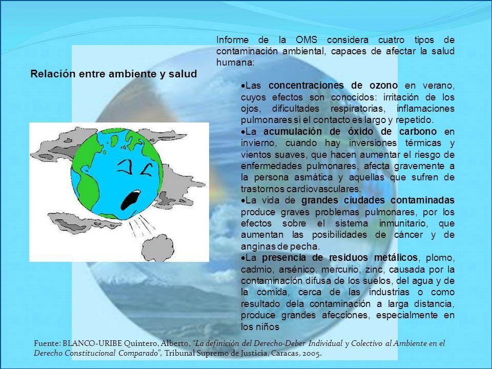 Informe de la OMS considera cuatro tipos de contaminación ambiental, capaces de afectar la salud humana: Las concentraciones de ozono en verano, cuyos