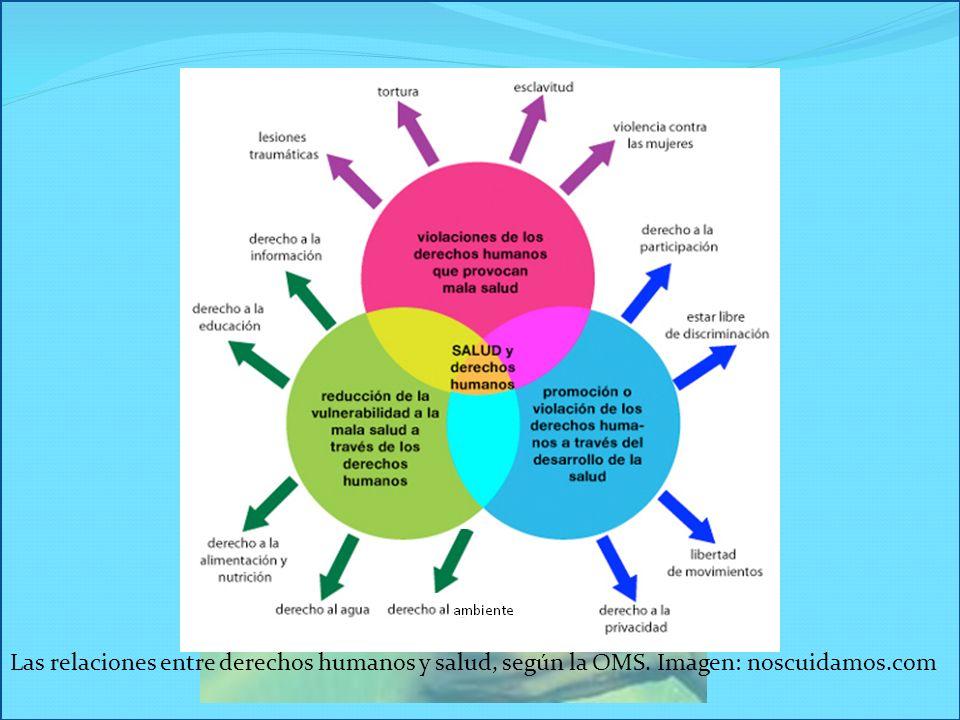Las relaciones entre derechos humanos y salud, según la OMS. Imagen: noscuidamos.com