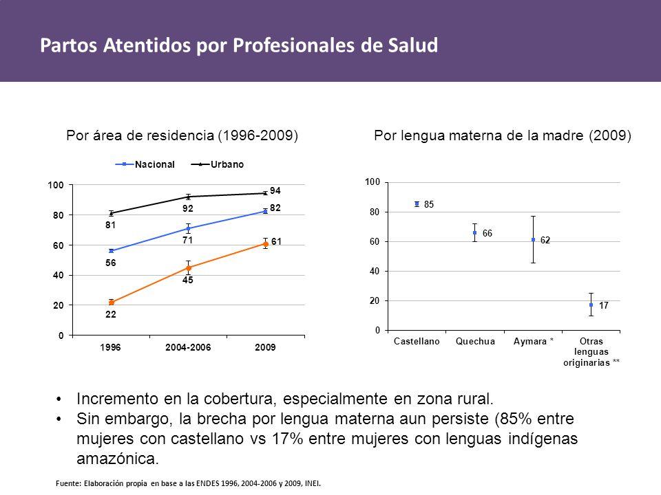 Partos Atentidos por Profesionales de Salud Por área de residencia (1996-2009)Por lengua materna de la madre (2009) Fuente: Elaboración propia en base