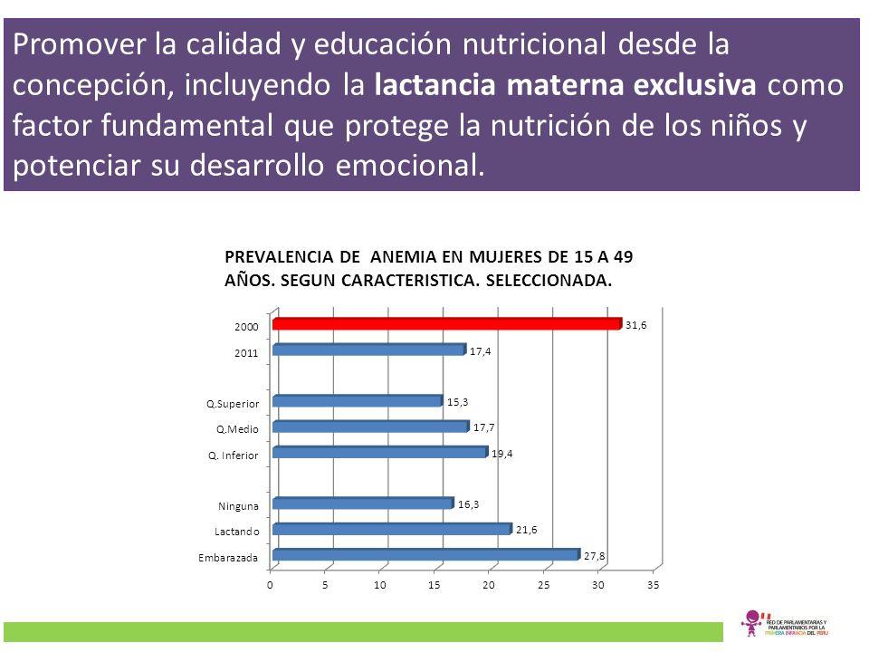 Promover la calidad y educación nutricional desde la concepción, incluyendo la lactancia materna exclusiva como factor fundamental que protege la nutr