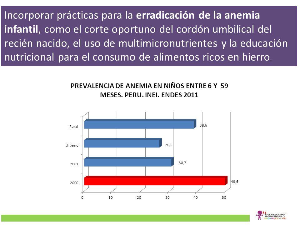 Incorporar prácticas para la erradicación de la anemia infantil, como el corte oportuno del cordón umbilical del recién nacido, el uso de multimicronu