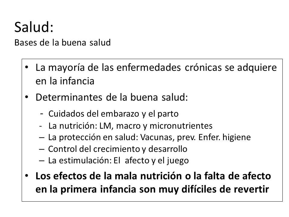 La mayoría de las enfermedades crónicas se adquiere en la infancia Determinantes de la buena salud: - Cuidados del embarazo y el parto - La nutrición: